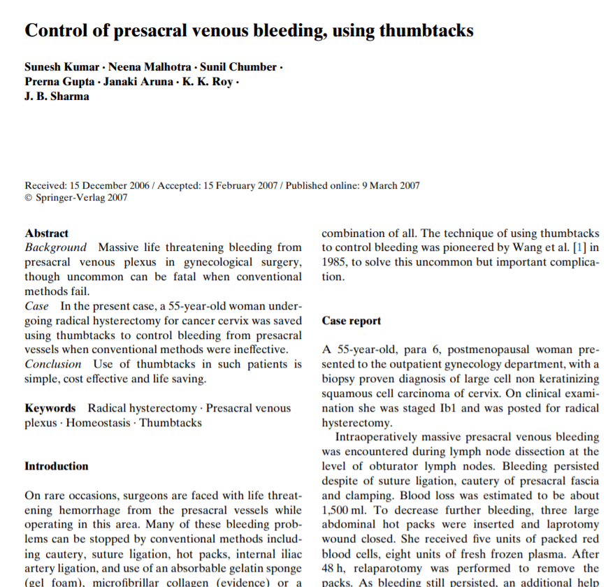 Control of presacral venous bleeding, using thumbtacks