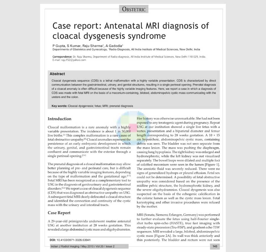 Case report: Antenatal MRI diagnosis of cloacal dysgenesis syndrome